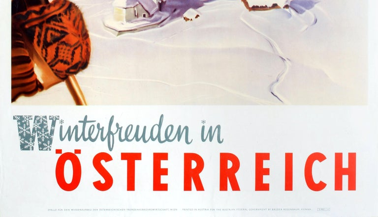 Original Vintage Skiing Poster by Aigner Winter Pleasures in Austria Osterreich In Good Condition For Sale In London, GB