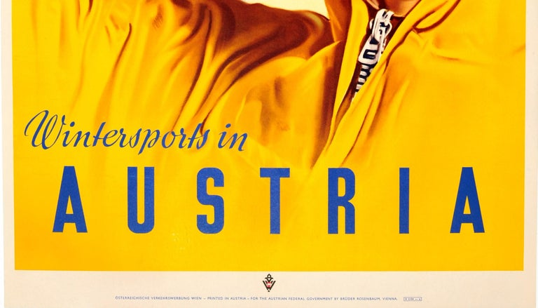 Original Vintage Skiing Poster by Paul Aigner - Wintersports in Austria Fly KLM In Good Condition For Sale In London, GB