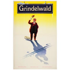 Original Vintage Skiing Winter Sport Poster by Leupin - Grindelwald Switzerland