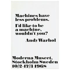 Original Vintage Solo Art Exhibition Poster Andy Warhol I'd Like To Be A Machine