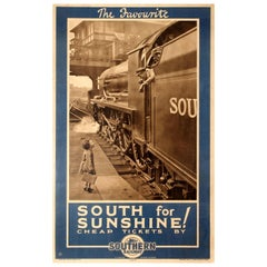 Original Vintage Southern Railway Poster Cheap Tickets to the South for Sunshine