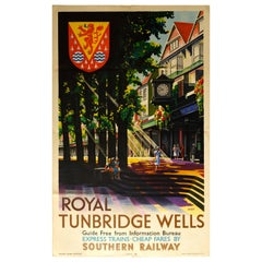 Original Vintage Southern Railway Poster Royal Tunbridge Wells Spa Train Travel