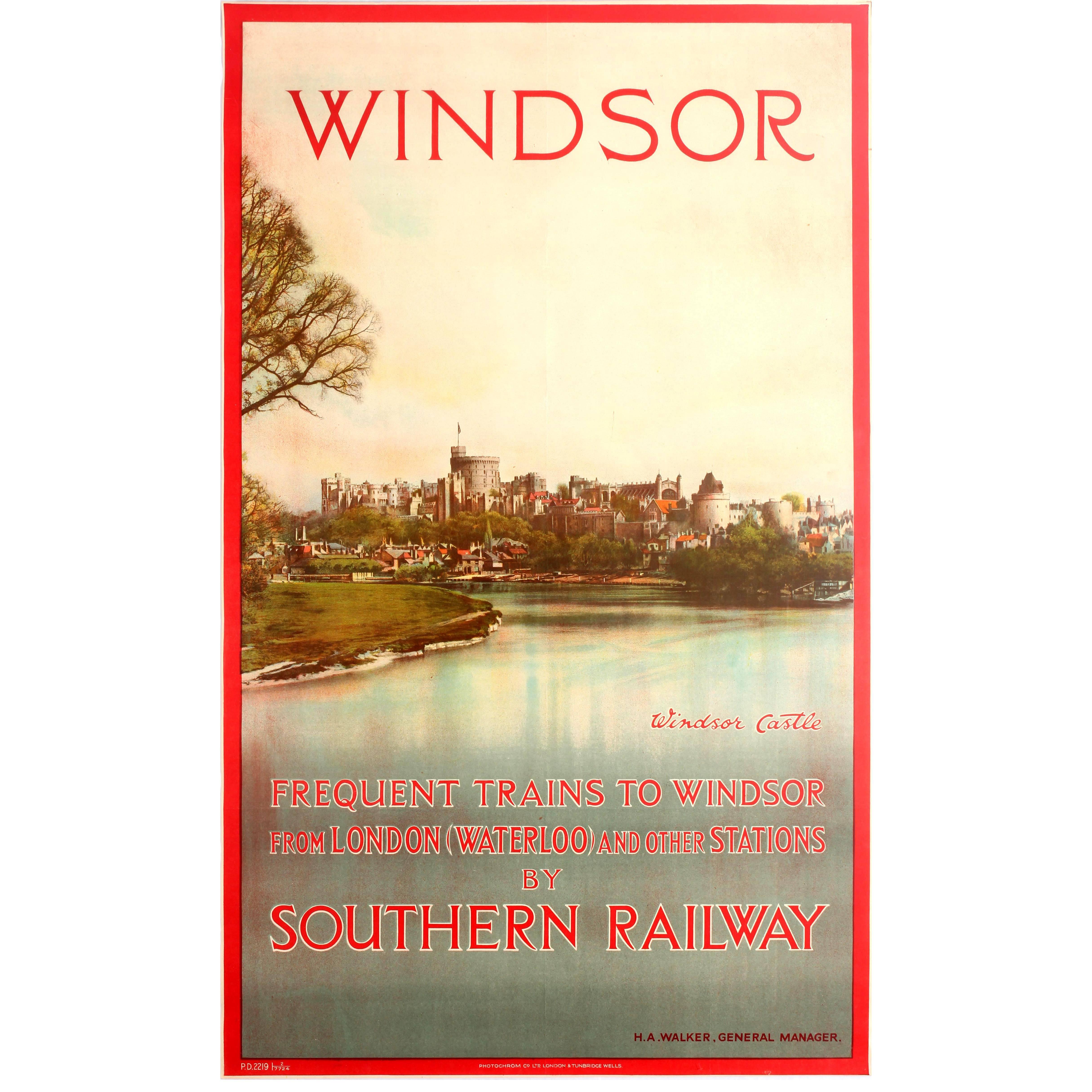 Original Vintage Southern Railway Travel Poster Featuring Windsor Castle England