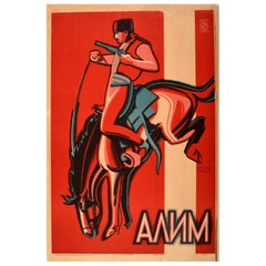 Original Vintage Soviet Movie Poster for a Crimea Drama Film Alim - Horse Design