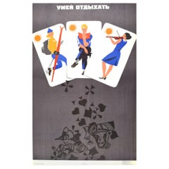 Original Vintage Soviet Poster Learn To Ski Read Music Don't Drink Playing Cards