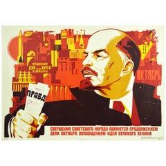 Original Vintage Soviet Poster Lenin October Revolution Pravda USSR XXV Congress