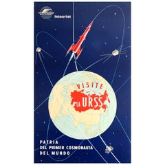 Original Vintage Soviet Poster Visit USSR Home of the First Cosmonaut Intourist