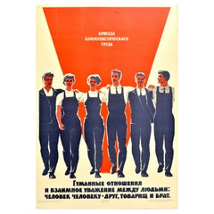 Original Vintage Soviet Poster Workers Team Respect Comrade Workplace Motivation