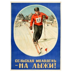 Original Vintage Soviet Winter Sport Poster Rural Youth On Skis! Ft Skiing Scene