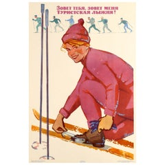 Original Vintage Soviet Winter Sport Skiing Poster - The Ski Track is Calling!