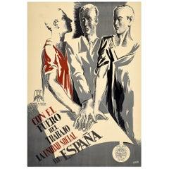 Original Vintage Spanish Civil War Era Propaganda Poster La Unidad Social Unity