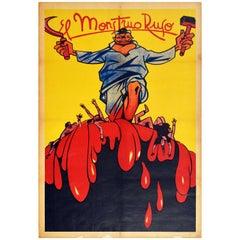 Original Vintage Spanish Civil War Poster El Monstruo Ruso The Russian Monster