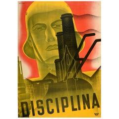 Original Vintage Spanish Civil War Propaganda Poster Disciplina Discipline Spain