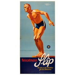 Original Vintage Sport Fashion Poster for Slip Badehose Swimming Trunks Ft Diver