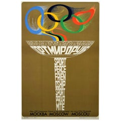 Original Vintage Sport Moscow Summer Olympic Games Poster Russia 1980