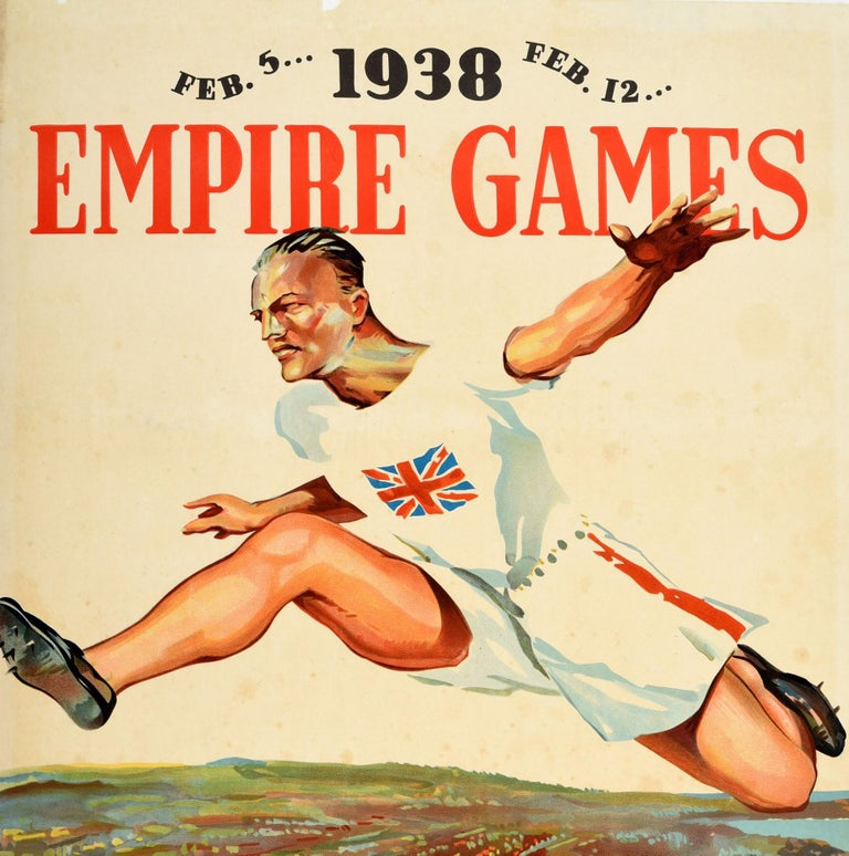 Original vintage sport event poster for the 1938 Empire Games Feb. 5... Feb. 12... Sydney calls you... Australia's 150th Anniversary Celebrations January 26 to April 25 1938. Great design by Charles Meere (1890-1961) of an athlete in a Union Jack