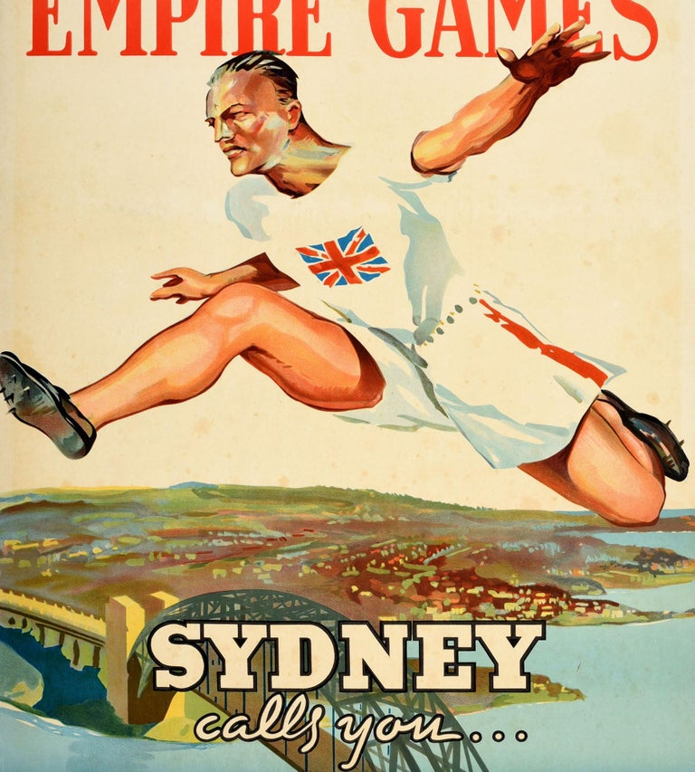 Australian Original Vintage Sport Poster 1938 Empire Games Sydney Australia 150 Anniversary For Sale