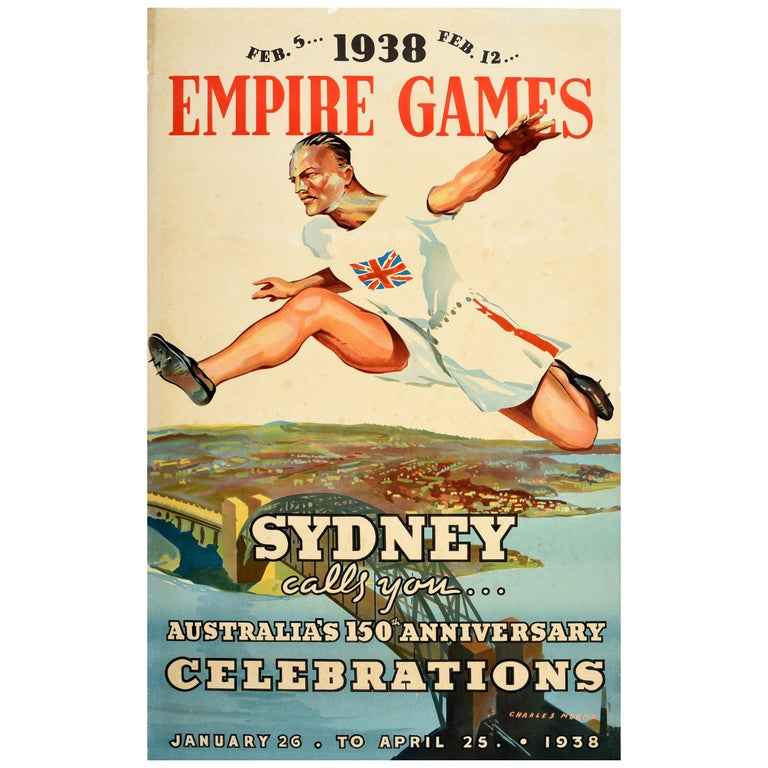 Original Vintage Sport Poster 1938 Empire Games Sydney Australia 150 Anniversary For Sale
