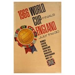 Original Vintage Sport Poster 1966 World Cup Finals England Football Wembley