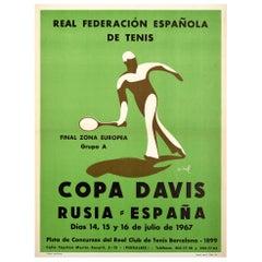 Original Vintage Sport Poster 1967 Copa Davis Cup Russia Spain Tennis Final Gr.A