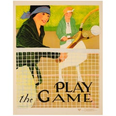 Original Vintage Sport Poster Ft. Tennis - Play the Game - Social Education YWCA