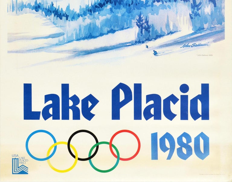 Original Vintage Sport Poster Lake Placid 1980 Winter Olympics Skiers Mountains In Good Condition For Sale In London, GB
