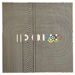 Original Vintage Sport Poster Mexico 68 Olympic Games Graphic Design Lines Logo