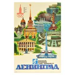 Original Vintage Sport Poster Moscow Olympics 1980 Leningrad Football Finals
