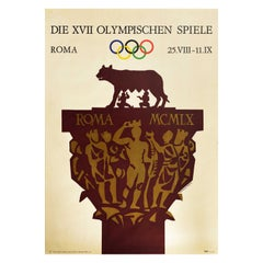 Original Vintage Sport Poster Rome Olympic Games Italy Romulus and Remus Design