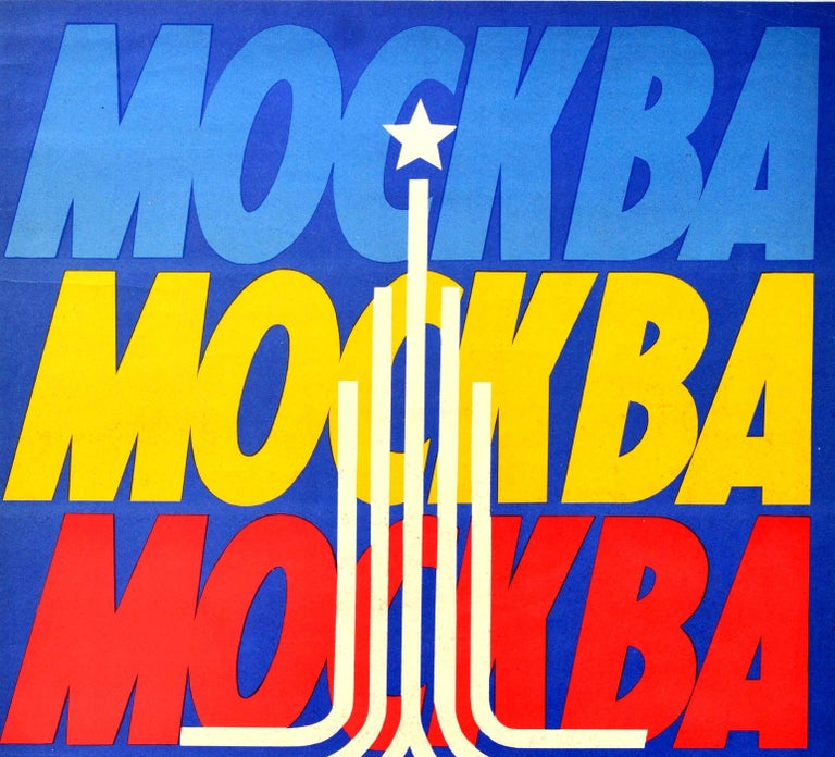 Original vintage sport poster promoting the 22nd Summer Olympic Games / Games of the XXII Olympiad in 1980 held in Moscow Russia featuring the title ?????? / Moskva / Moscow in bold lettering in light and dark blue, yellow, green and red against a