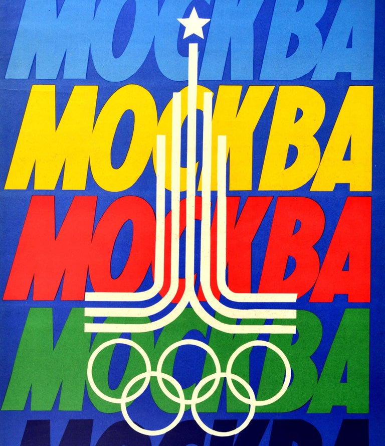Original Vintage Sport Poster Summer Olympic Games 1980 Moscow Russia Москва In Good Condition For Sale In London, GB