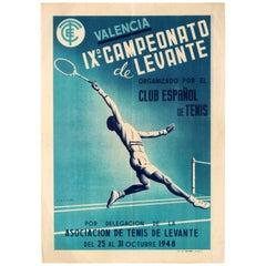 Original Vintage Sport Poster Valencia Campeonato De Levante Tennis Club Spain