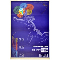 Original Vintage Sport Poster Women's World Handball 1968 IHF USSR Federation