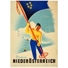 Original Vintage Sport Skiing Poster Winter in Niederosterreich / Lower Austria