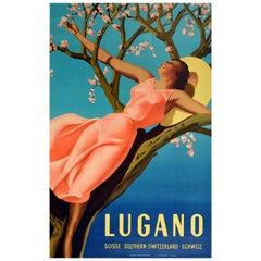 Original Vintage Spring Travel Poster Lugano Suisse Southern Switzerland Schweiz