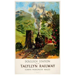 Original Vintage Steam Train Poster Dolgoch Station on the Talylln Railway Wales