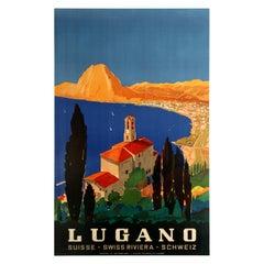 Original Vintage Swiss Riviera Travel Poster Lugano Lake Monte San Salvatore