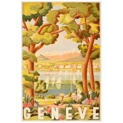 Original Vintage Swiss Travel Poster Geneve Lake Geneva Switzerland Sailing Alps