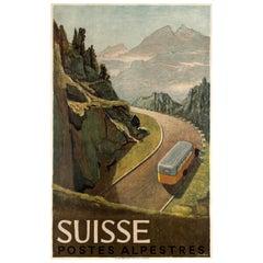 Original Vintage Swiss Travel Poster Suisse Postes Alpestres Alps Post Motor Bus