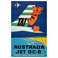 Original Vintage TAI Travel Poster Australia Jet DC-8 Ft Beach Koala Bear Design