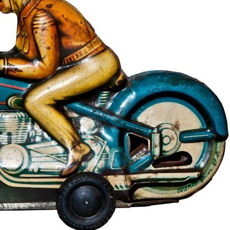 French Original Vintage Toy, Friction Motorcyclist, 1960s For Sale