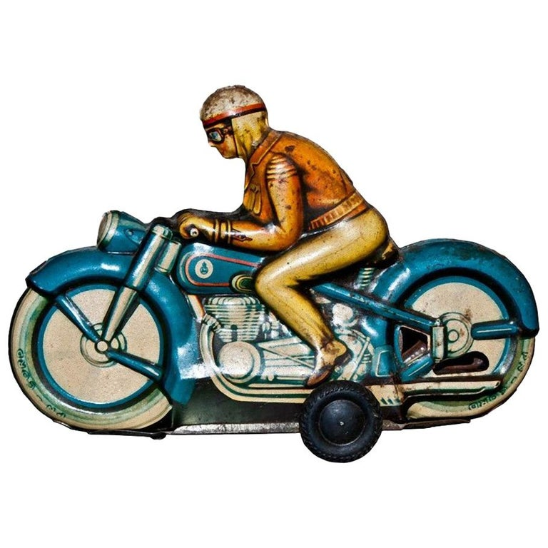 Original Vintage Toy, Friction Motorcyclist, 1960s For Sale