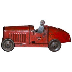 Original Vintage Toy, Small Red Car, Early 20th Century