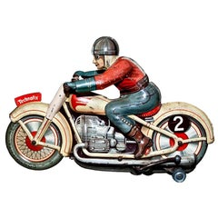 Original Vintage Toy, Wind Up Technofix G.E.255 Motorcyclist, 1950s
