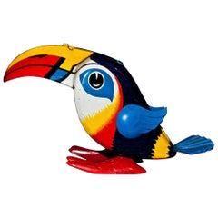 Original Vintage Toy, Wind Up Toucan, Late 20th Century