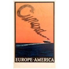 Original Vintage Transatlantic Cruise Ship Travel Poster - Cunard Europe America