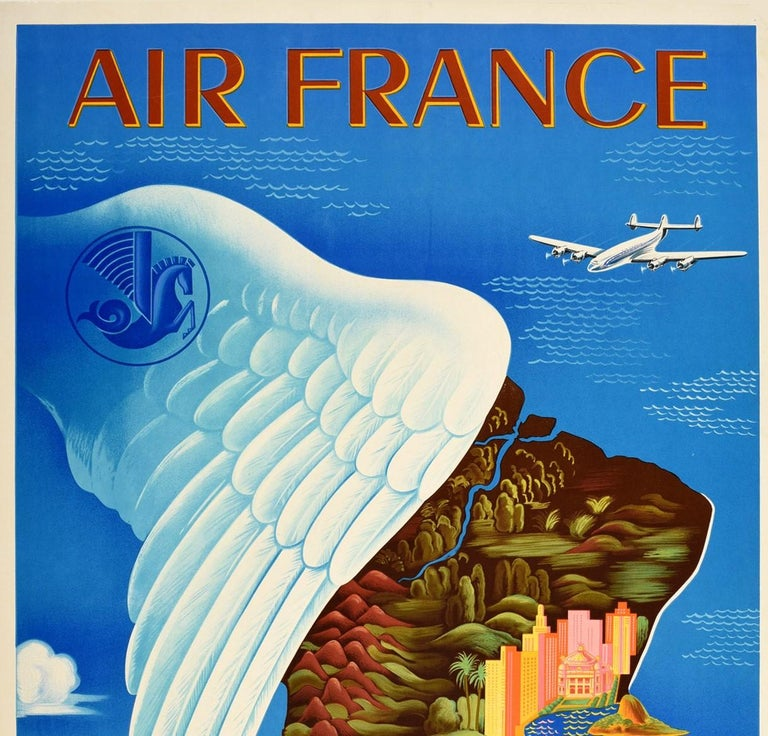 Original vintage travel poster advertising flights to South America / America Del Sur by Air France featuring a colorful stylized design by Lucien Boucher (1889-1971) depicting historic buildings and city skyscrapers, jungle forests, palm trees,