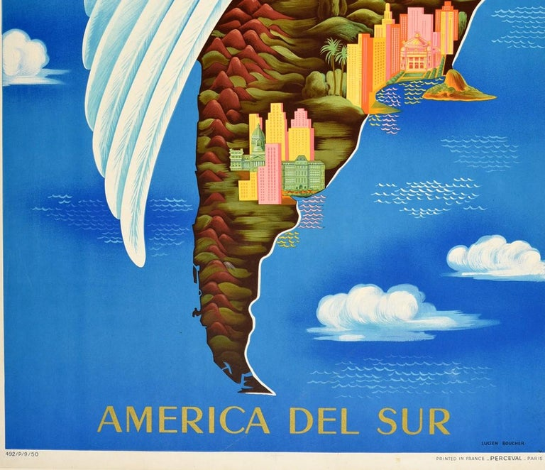 French Original Vintage Travel Poster Air France South America Del Sur Map Wing Design For Sale