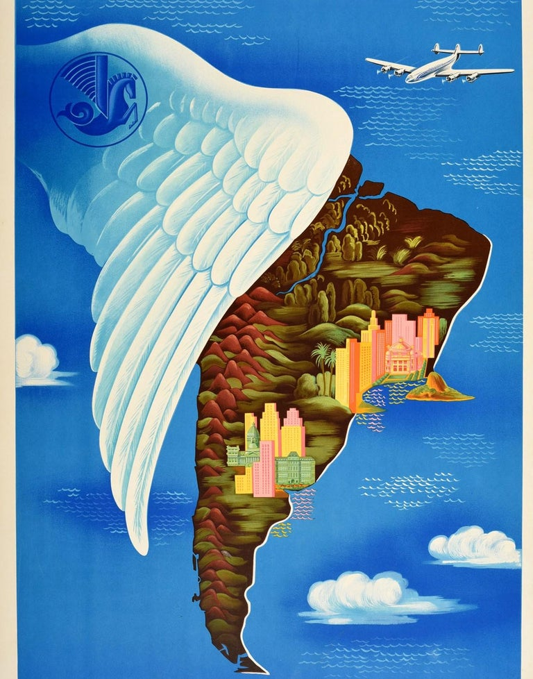 Original Vintage Travel Poster Air France South America Del Sur Map Wing Design In Good Condition For Sale In London, GB