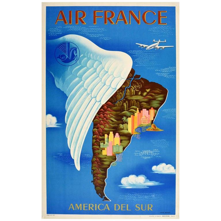 Original Vintage Travel Poster Air France South America Del Sur Map Wing Design For Sale